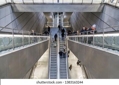 Copenhagen, Denmark - February 17, 2017: Interior view of Kongens Nytorv Metro Station in the city centre