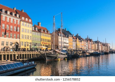 Copenhagen, Denmark - February 20, 2018: Colorful and Bright Houses and Boats on the Main Canal