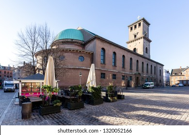 Copenhagen, Denmark - February 22, 2019: Exterior view of the Church of Our Lady, which is the Cathedral of Copenhagen.