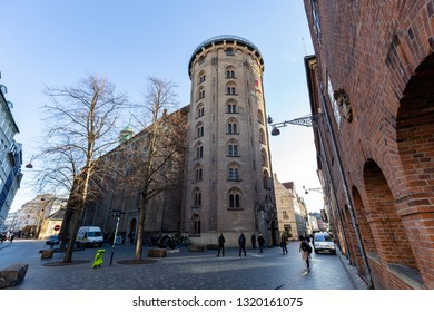 Copenhagen, Denmark - February 22, 2019: The Round Tower in the historic city centre.