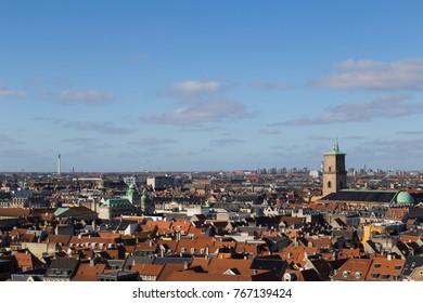 Copenhagen, Denmark - February 26, 2016: View of the skyline from Christiansborg castle tower.