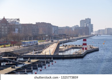 Copenhagen, Denmark - February 27, 2019: The harbour bath at Islands Brygge. There are currently four harbour baths in Copenhagen.