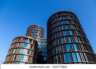 Copenhagen, Denmark - February 27, 2019: Exterior view of the modern Axel Towers designed by architects Lundgaard and Tranberg.