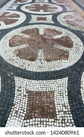 Copenhagen, Denmark - January 20 2014 : Cobble stone design at Amalienborg palace ground in Copenhagen