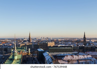 Copenhagen, Denmark - January 21, 2016: View of the skyline from Christiansborg castle tower.