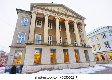 COPENHAGEN, DENMARK - JANUARY 5, 2011: Danske bank in winter Copenhagen. The name literally means Danish Bank. It is the largest bank in Denmark with its headquarter in Copenhagen.