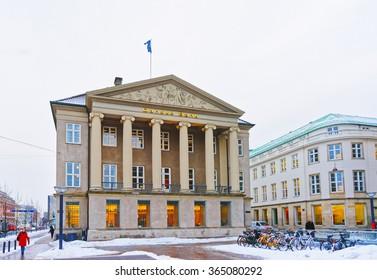 COPENHAGEN, DENMARK - JANUARY 5, 2011: Danske bank in Copenhagen in winter. The name literally means Danish Bank. It is the largest bank in Denmark with its headquarter in Copenhagen.