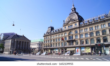 COPENHAGEN, DENMARK - JUL 04th, 2015: Main facade of the building of the Magasin du Nord warehouses, built inside an old hotel in the historic center of the city