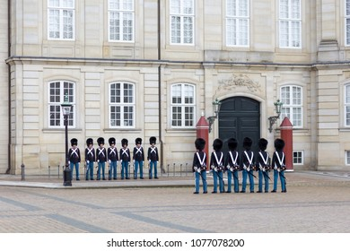 Copenhagen, Denmark - July 08, 2017: Group of Danish Royal Guards at Amalienborg Palace for the change  of guard ceremony