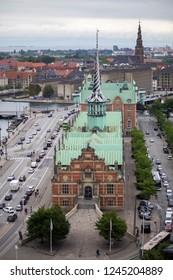 Copenhagen, Denmark - July 1, 2017: Aerial view of the old stock exchange building called Borsen