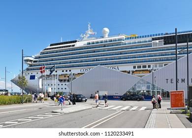 Copenhagen, Denmark - July 15, 2017: The cruise ship Costa Favolosa of the shipping company Costa Crociere has moored at the Ocean Quay Cruise Terminal in Copenhagen.