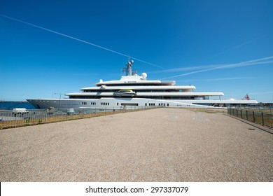 COPENHAGEN, DENMARK - JULY 16: Yacht Eclipse in the Copenhagen Port on July 16, 2015. The Second largest Mega Yacht with 162m. The Yacht is owned by the russian Billionaire Roman Abramovich