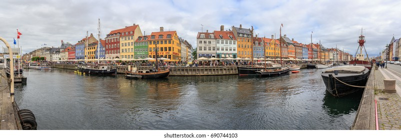 COPENHAGEN, DENMARK - JULY 18, 2017: Nyhavn 180° Panorama