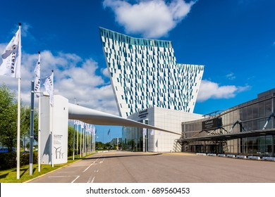 COPENHAGEN, DENMARK - JULY 19: AC Bella Sky Marriott Hotel and Comwell Convention and Congress Center in the Orestad district of Copenhagen, Denmark on July 19, 2017.