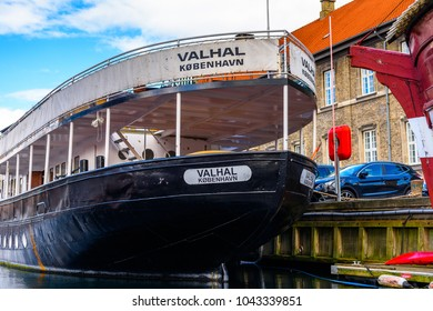 COPENHAGEN, DENMARK - JULY 20, 2017: Boat on the river in the Old part of Copenhagen, the capital of Denmark