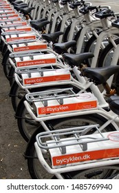 Copenhagen, Denmark - July 20, 2019: A row of Bycyklen bicycles. Bycyklen is bicycle sharing system of Copenhagen, Denmark.