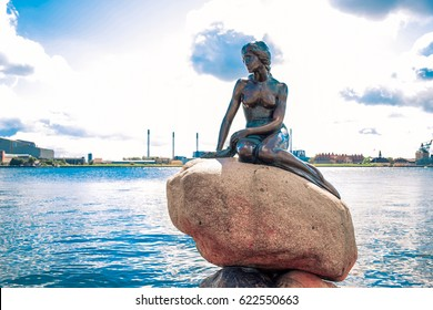 COPENHAGEN, DENMARK - JULY 20: The Little Mermaid statue by the waterside at the Langelinie