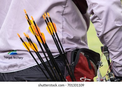COPENHAGEN, DENMARK - JULY 2015:  Quiver with arrows for archery.