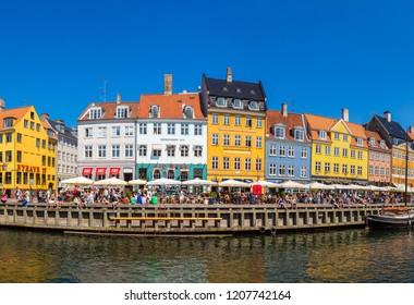 COPENHAGEN, DENMARK - JULY 25, 2014: Nyhavn district is one of the most famous landmark in Copenhagen, Denmark
