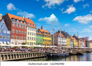 COPENHAGEN, DENMARK - JULY 25, 2017: Nyhavn district in Copenhagen in a summer day, Denmark on July 25, 2017