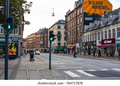 Copenhagen, Denmark - July 26, 2017: Streets of Copenhagen city, panoramic view of Norrebro district, European architecture