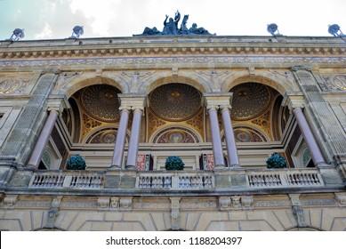 Copenhagen, Denmark - July 29, 2018 - The Royal Danish Theatre (Det Kongelige Teater) located on Kongens Nytorv in Copenhagen