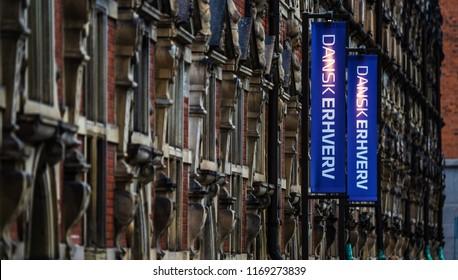 Copenhagen, Denmark - July 6, 2018: Danish Chamber of Commerce (Dansk Erhverv). Headquarter in Børsen, Copenhagen.