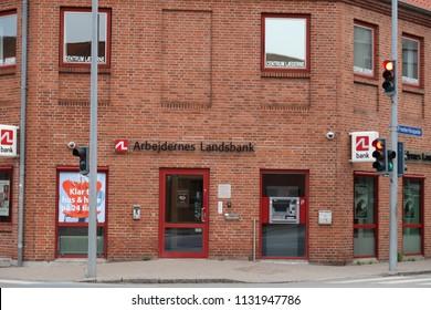 Copenhagen , Denmark -july 8, 2018: Arbejdernes Landsbank Danish bank.
