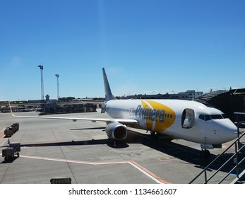 Copenhagen , Denmark -july 8, 2018: Primera Air, Primera Travel Group.