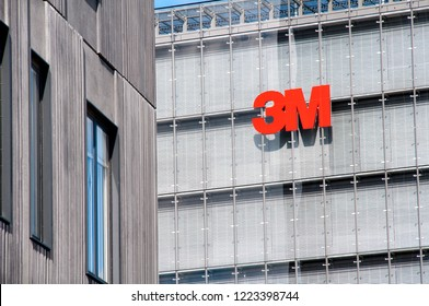 Copenhagen - Denmark June 08, 2013: 3M logo on a building in Copenhagen. The 3M Company operating in the fields of industry, health care, and consumer goods