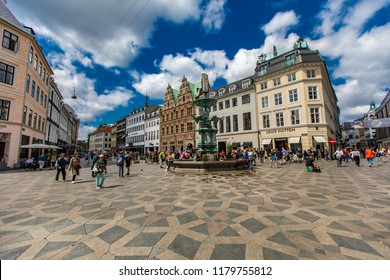 COPENHAGEN, DENMARK - JUNE 13, 2018: Unidentified people at Gammeltorv square in Copenhagen, Denmark. Gammeltorv (Old Market) is the oldest square in Copenhagen.