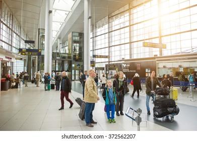COPENHAGEN, DENMARK - JUNE 17, 2015: Interior of Kastrup Lufthavnen Airport on June 17, 2015 in Copenhagen, Denmark