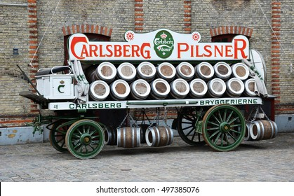 COPENHAGEN, DENMARK - JUNE, 2016 : A wagon of beer barrels is displayed outside the Carlsberg Brewery in Copenhagen.