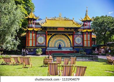 Copenhagen, Denmark - June 2018: Chill out area in Tivoli Gardens, Chinese temple in amusement park Tivoli, Copenhagen, Denmark