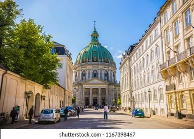 COPENHAGEN, DENMARK - June 2018: The Dome of Frederik's Church in Copenhagen on sunny day, Denmark