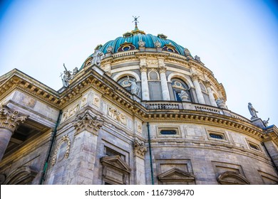COPENHAGEN, DENMARK - June 2018: The Dome of Frederik's Church in Copenhagen on sunny day, Denmark