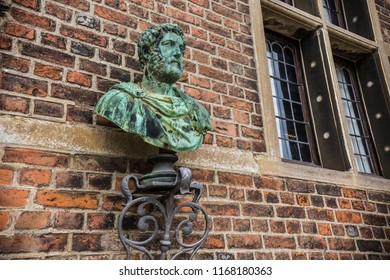COPENHAGEN, DENMARK - June 2018: Exterior elements and statues at Rosenborg castle on cloudy summer day in Copenhagen, Denmark