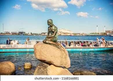 COPENHAGEN, DENMARK - June 2018: Copenhagen Mermaid on sunny day, denmark
