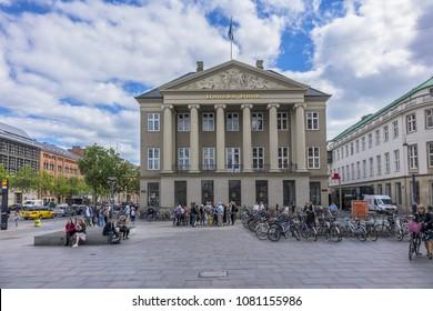 COPENHAGEN, DENMARK - JUNE 21, 2017: View of Danske Bank's headquarters in Kongens Nytorv in Copenhagen. Danske Bank's is the largest bank in Denmark.