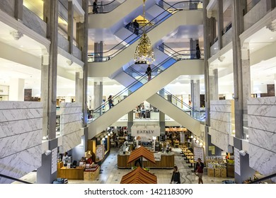 COPENHAGEN, DENMARK - JUNE 21, 2017: Interior of ILLUM - premium department store. A skillfully decorated shopping paradise, offering everything from fashion and beauty to home decor and design.