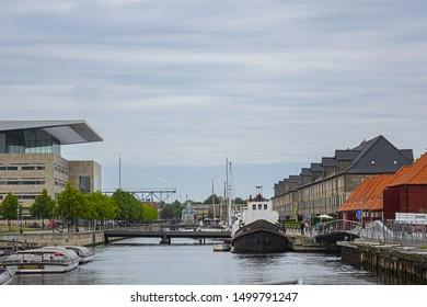 COPENHAGEN, DENMARK - JUNE 21, 2017: Canal Tour: beautiful view on Copenhagen water front. Canal Tours Copenhagen is a wonderful way of seeing Copenhagen.