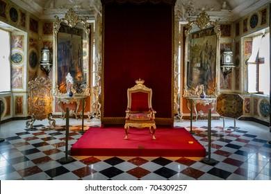 COPENHAGEN, DENMARK - June 25, 2016: Christian VI's throne in Rosenborg Castle