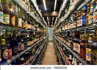 COPENHAGEN, DENMARK - June 26, 2016: The largest collection of unopened beer bottles in the world (certified by Guiness) kept in the Carlsberg Breweries in Copenhagen.