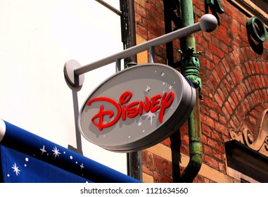 Copenhagen, Denmark - June 26, 2018: The Disney logo on sign panel at the exterior of the Disney store