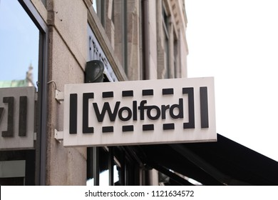 Copenhagen, Denmark - June 26, 2018: Wolford logo on store front panel. Wolford is founded in 1949 employs and is one of most recognized lingerie and hosiery brands today.