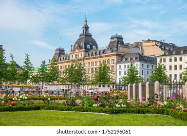"""Copenhagen, Denmark- June 26, 2019: Beautiful building of """"Magasin du nord"""" or Northern store on The King's New Square (Kongens Nytorv)."""