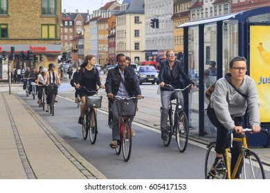 COPENHAGEN, DENMARK - JUNE 29, 2016:This is a mass bicycle traffic in the city on special bike paths.