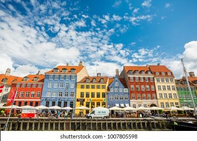 Copenhagen, Denmark - June 7, 2017: Colorful houses on the Nyhavn