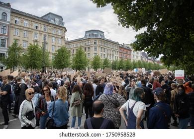 Copenhagen, Denmark - June 7th 2020: Thousands of demonstrators gathered outside the American embassy arranged by Black Lives Matter Denmark