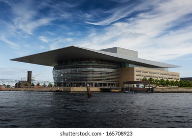 COPENHAGEN, DENMARK - JUNE 9: National opera house of Denmark shown on 9 June 2013 in Copenhagen. Planned by architect Henning Larsen, the opera is among the most modern opera houses in the world.